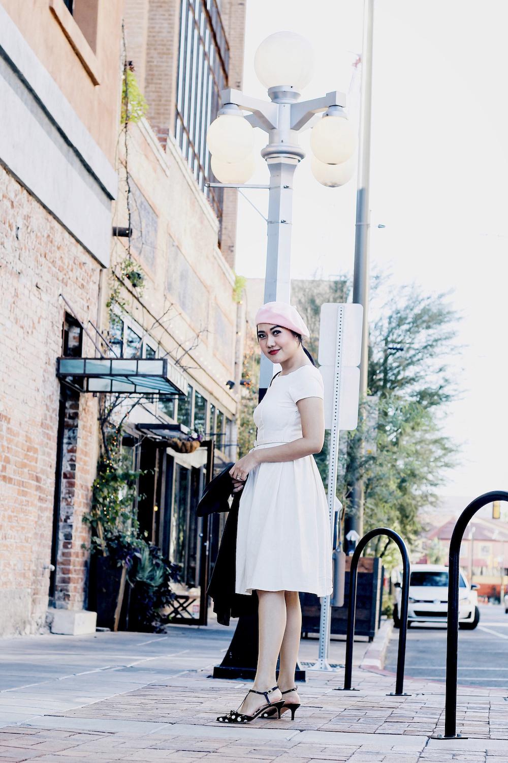 Holiday-Outfit-Ideas-Classy-White-Dress-Polka-Dot-kitten-heels-pink-French-Beret-Party-Outfit-Ideas