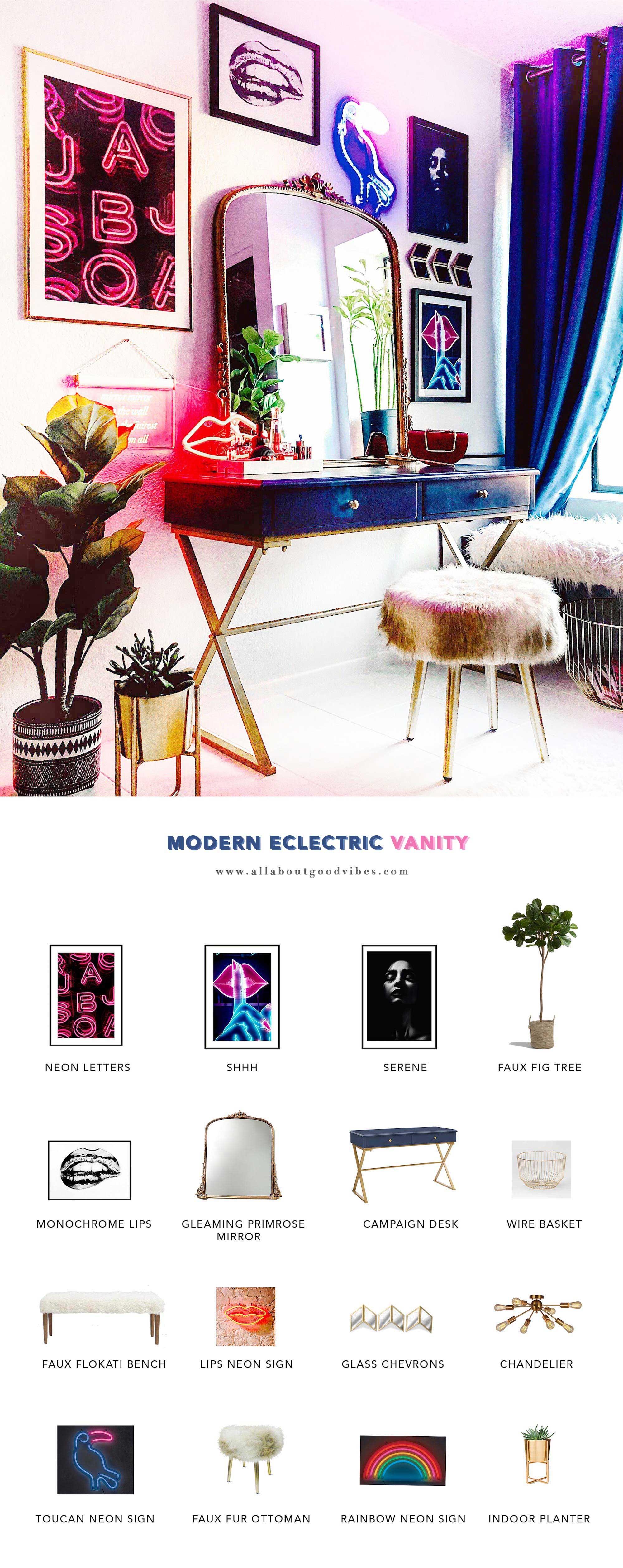 makeup-vanity-get the look Modern Eclectic Vanity with Desenio | Free Phone and Desktop wallpapers download