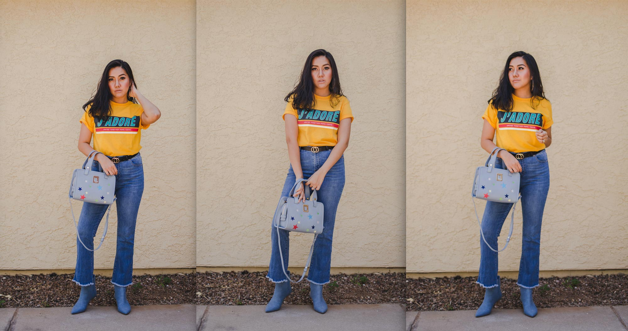 Fashion blogger Molly Larsen Wearing yellow J'ADORE Tee with blue denim jeans
