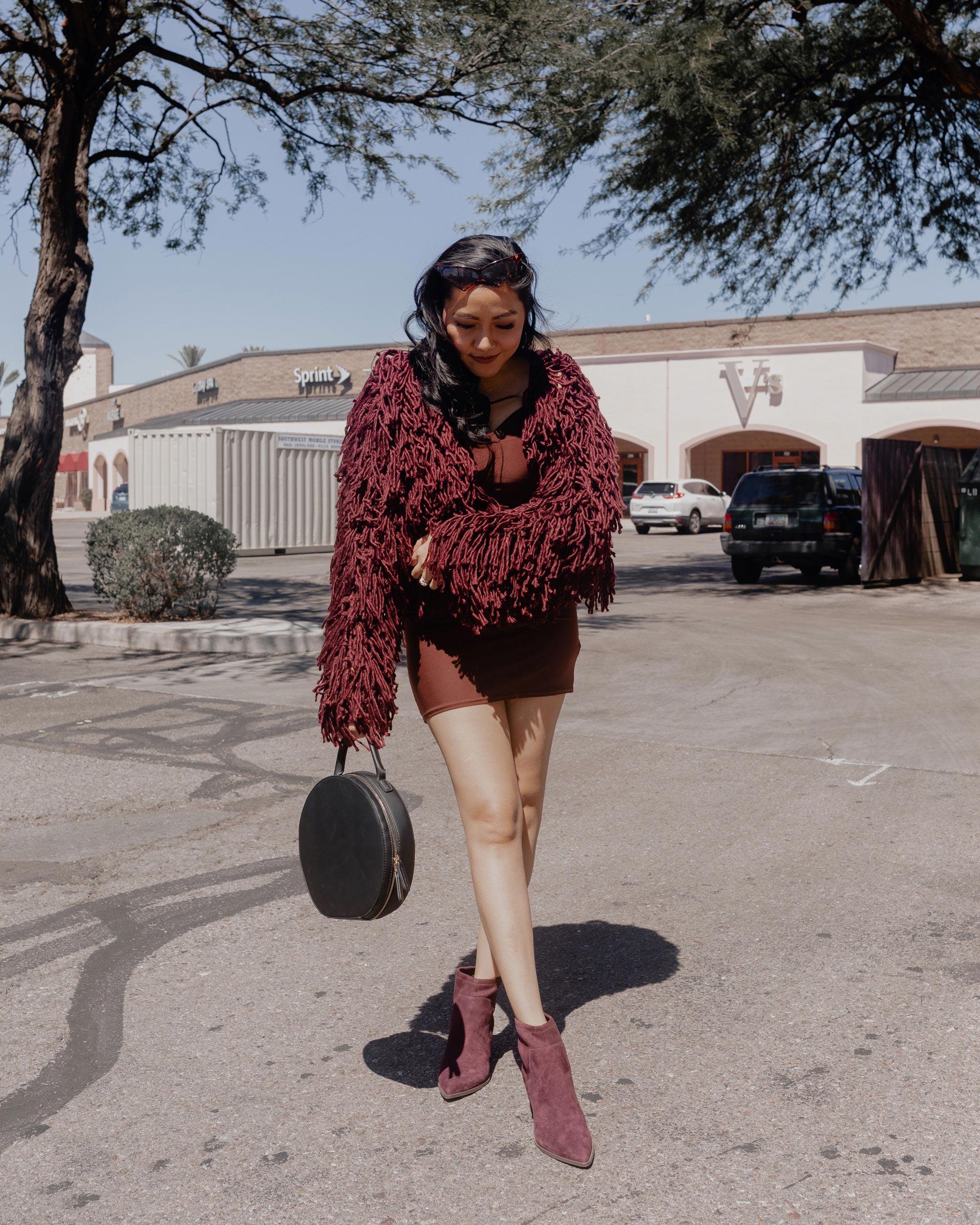Fall Style | Shaggy Cardigan 3 Ways-brown-soft-touch-slinky-neck-mini-dress_@thevibescloset_allaboutgoodvibes.com_Molly Larsen