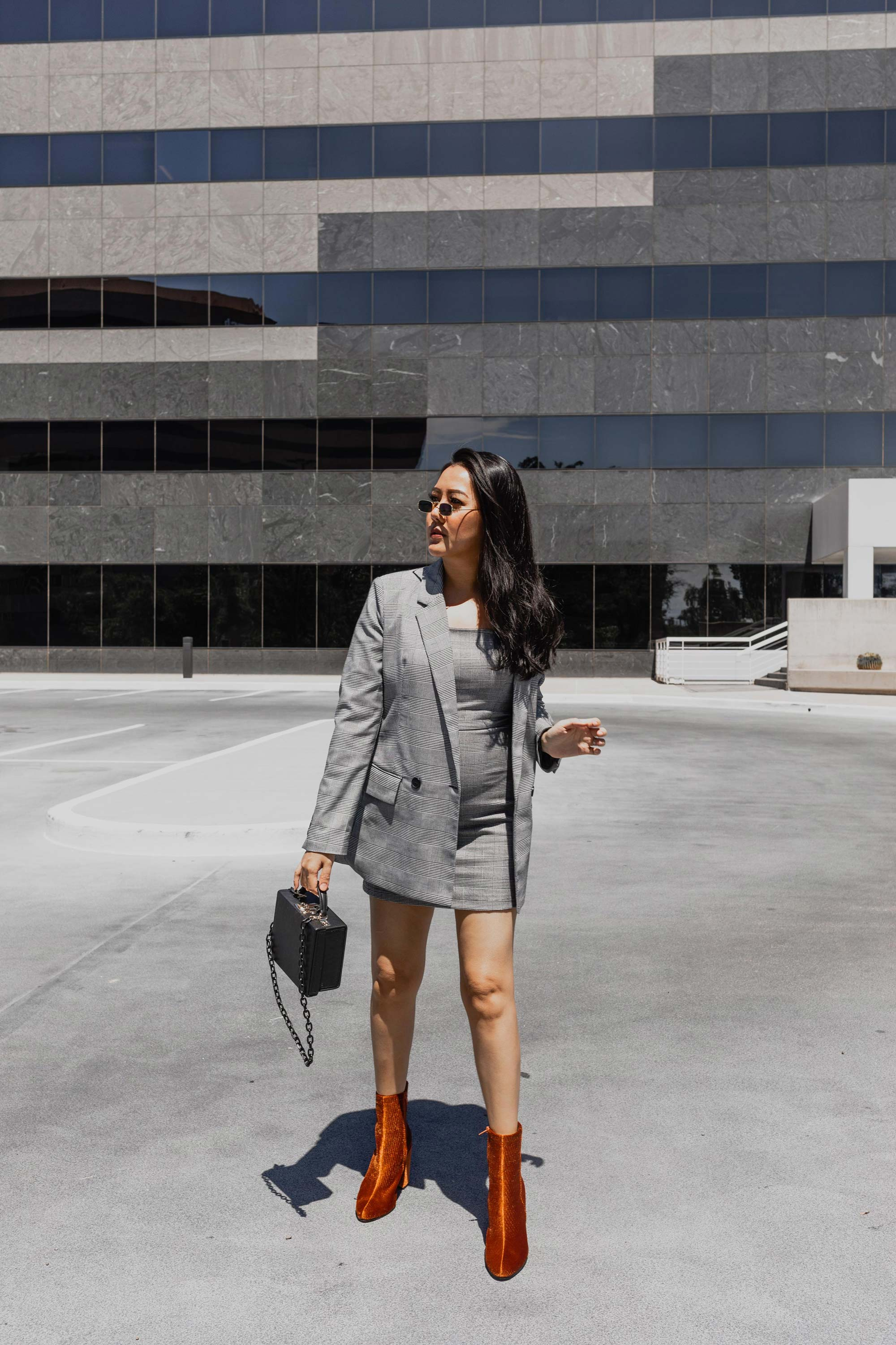 Fall Outfit Idea Plaid Blazer Dress velvet corduroy rust ankle boots Molly Larsen Allaboutgoodvibes.com Instagram @thevibescloset Fashion Style blogger