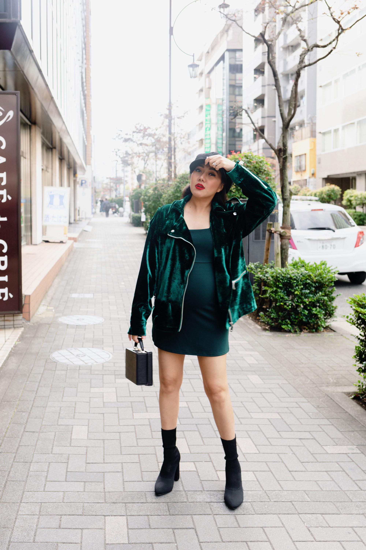 Holiday Outfit Green Velvet Jacket Mini dress Sock Boots Molly Larsen Beauty and Style Rizona Blogger IG @TheVibesCloset_1