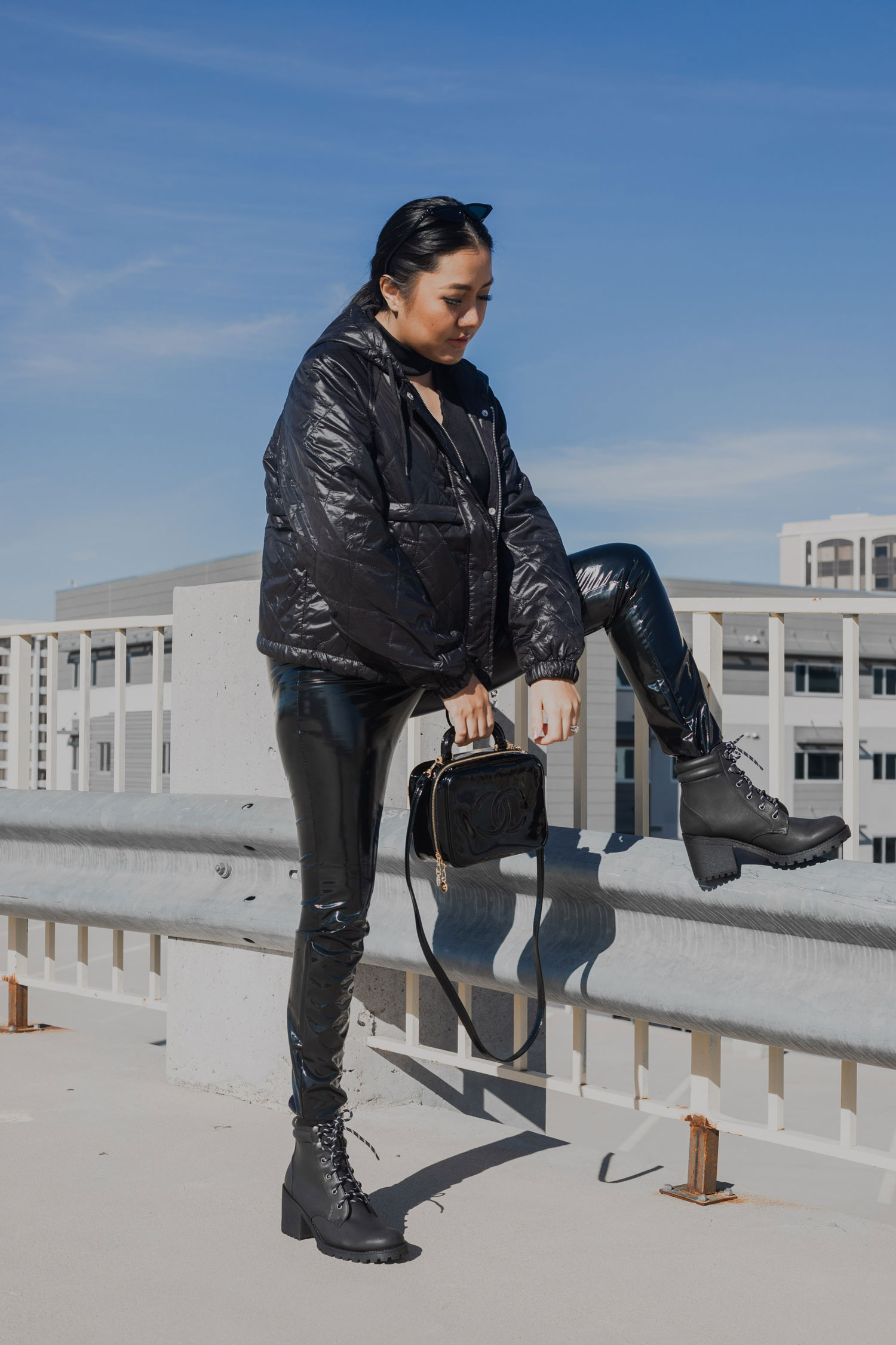 Last Minute Holiday Outfit | Vinyl Leggings and Quilted Jacket #GoodVibesGifting Day 4_12-20-2018_Molly Larsen IG @thevibescloset_allaboutgoodvibes.com